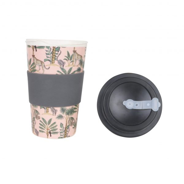 400ml Reusable Hot Cold Bamboo Coffee Cup with Screw Lid